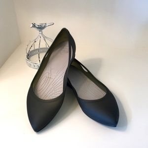 Crocs Pointed Black Ballet Flats